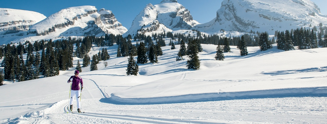 Cross-country skiing with view of the Churfirsten