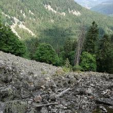 Geröllfeld auf dem Sentier des Roche