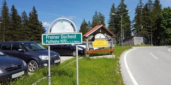 Passhöhe Preiner Gscheid mit Parkplatz