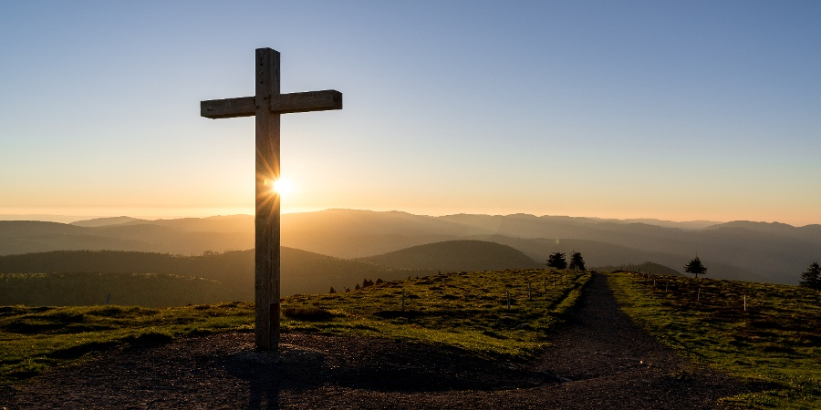 Summit cross on the Belchen in the Black Forest