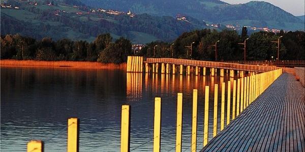 Attractive wooden walkway in the evening