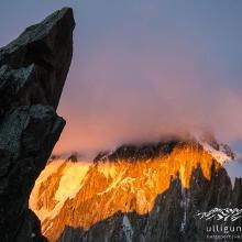 Der Teufelsgrat am Mont Maudit gespiegelt.