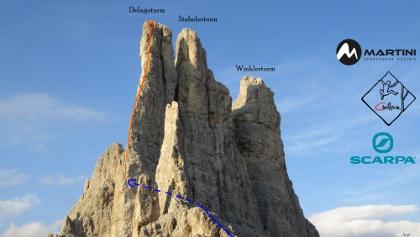 Delagokante Übersichtsbild der Klettertour auf den Delagoturm