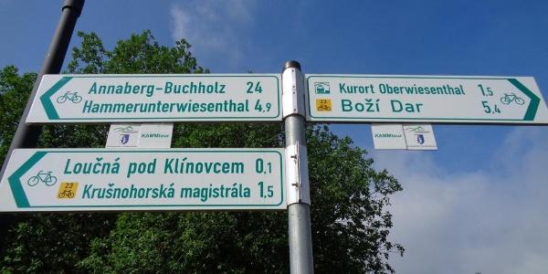 Wegweiser Kammtour in Kurort Oberwiseenthal