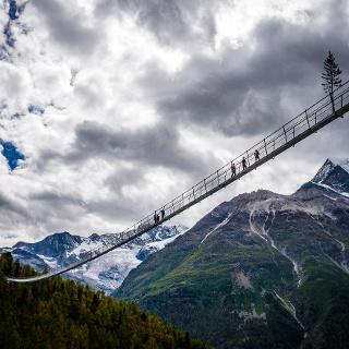 The longest suspension bridge in the world above Randa