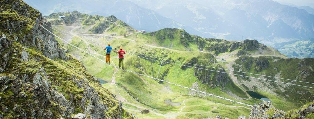 Seilbrücke beim Klettersteig Hochjoch