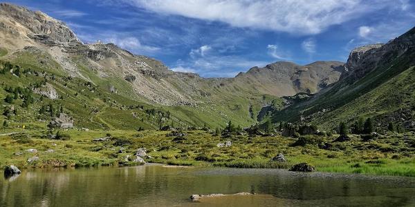 Blick von der Lizumerhütte Hütte zum Junsjoch