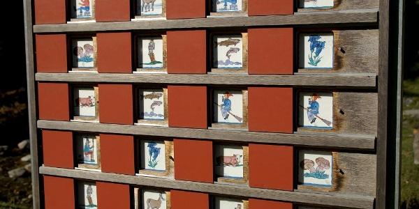 Memorytafel auf dem Grimmimutz-Erlebnisweg.