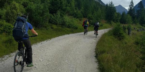 The road to the hut is ok for a normal bike but it is moustly uphill