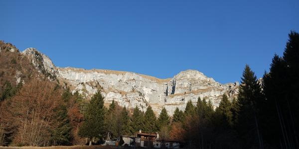 Le pareti verticali delle Vette Feltrine viste all'inizio dell'itinerario
