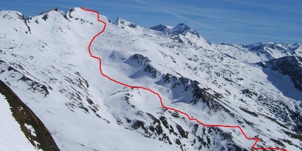 Übersicht Anstieg Romatenspitze (Blick von Abfahrt Feldseescharte)