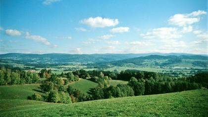 Blick vom höchsten Punkt in den Vorderen Bayerischen Wald