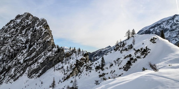 Skitour Hochalm, Blick zum Stanglahnerkopf