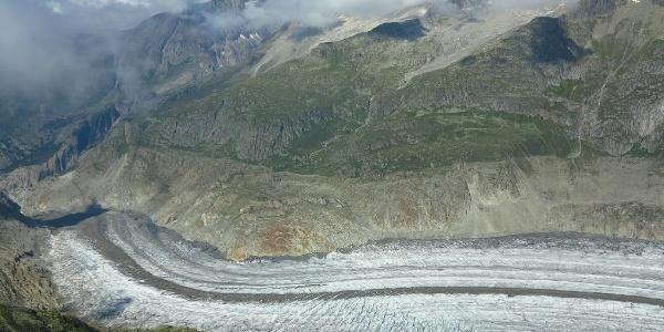 Tiefblick auf den Grossen Aletschgletscher.