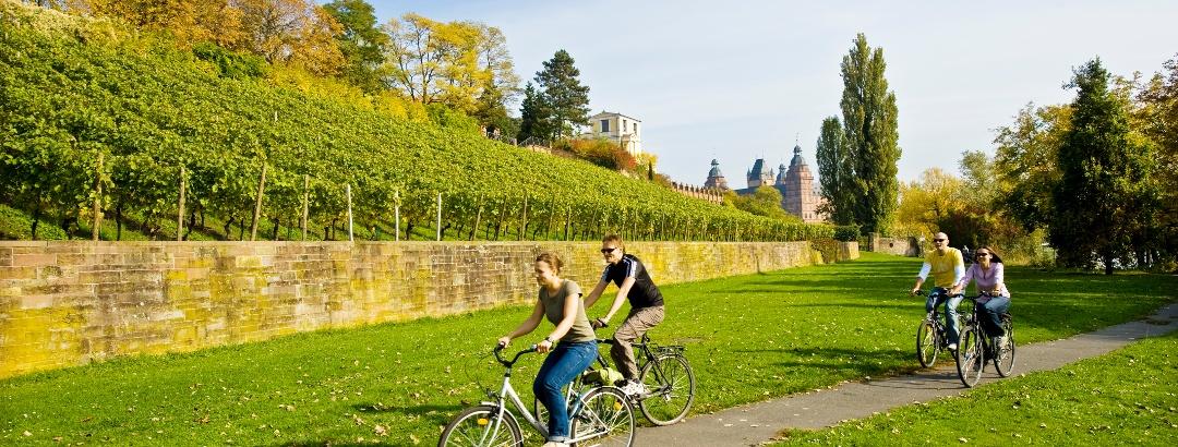 Radfahrer mit Pompejanum und Schloss