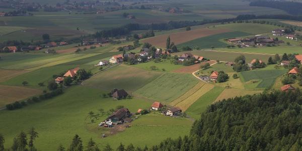 Blick übers Land vom Chutzenturm.