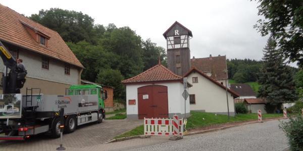 Einstieg  zum Rennsteig am Schlauchturm der Feuerwehr