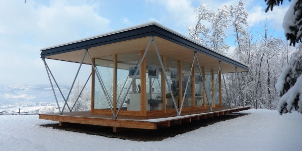 Energie-Erlebnispark-Zangtal: Energiepavillon im Winter