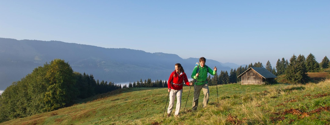 """Hikers near the """"Großer Alpsee"""""""