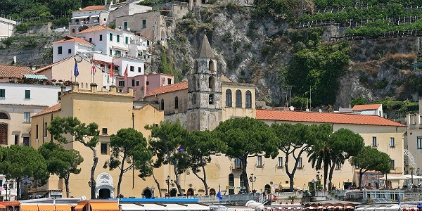 The town hall of Amalfi, seen from the coast