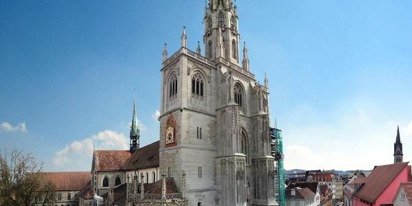 Konstanzer Münster und Münsterplatz von Nordwesten gesehen