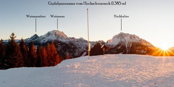Gipfelpanorama am Hirschkaser bei Sonnenuntergang im Winter