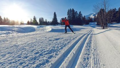 Cross-country skiing at the Jack Nicklaus golf course in Crans-Montana