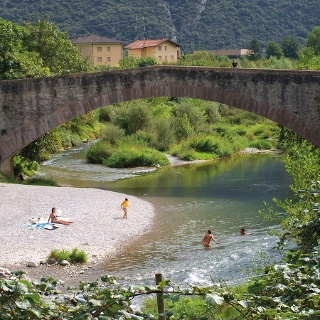 "The little beach under the ""roman bridge"" in Ceniga"