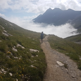 On the ascent to Col de la Seigne