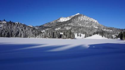Blick am Morgen über den winterlichen Spitzingsee zum Brecherspitz