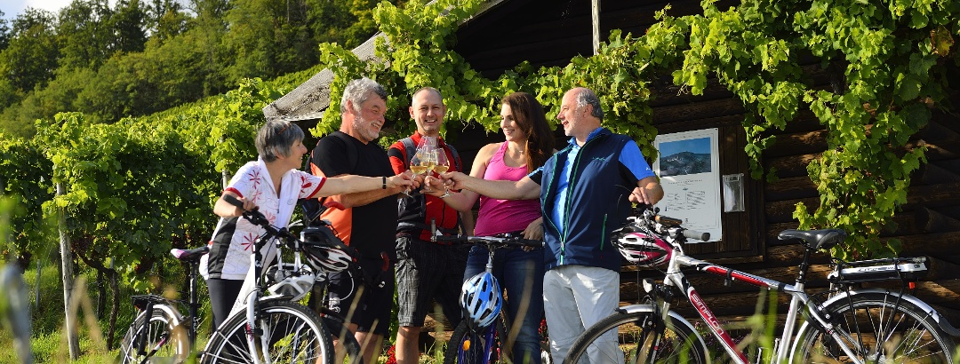 Radfahrer auf der Riesling-Tour