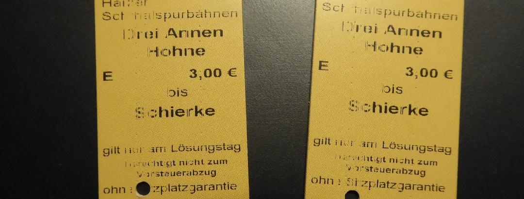 Fahrkarten der Brockenbahn
