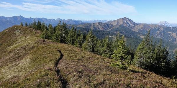 Traumpfad zu entdecken: Auf dem Kragelschinken erscheint das nächste Etappenziel, der spitze Zeiritzkampel (rechts), noch in weiter Ferne