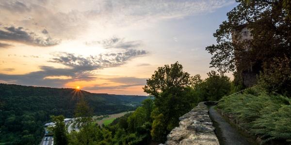 Der Ausblick von der Hohennagold kurz vor Sonnenuntergang
