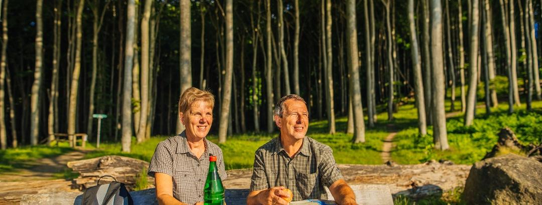 Bei einer Rast in der Sonne im Nationalpark Jasmund wird die weitere Route geplant