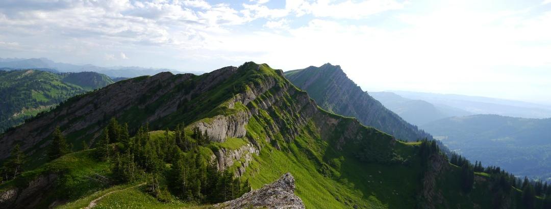Ausblick vom Buralpkopf auf Gündleskopf und Rindalphorn
