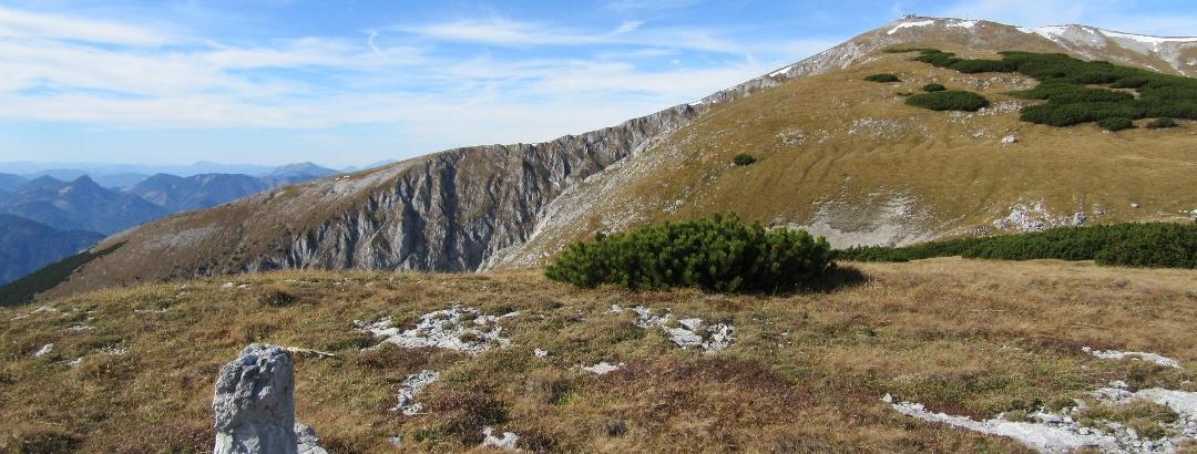 am höchsten Punkt des Salzriegels (1868 m) - Hintergrund Klosterwappen