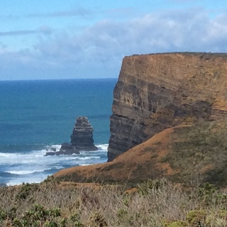 Cliffs and stack at Vale Figueiras.