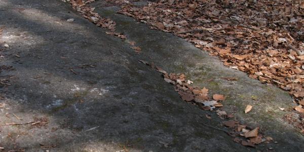 in massive Sandsteinplatte eingschliffene Rinne