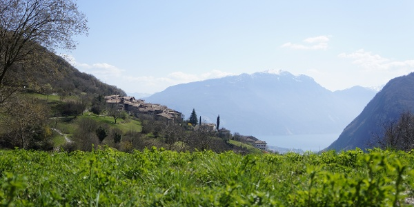View on Lake Garda and the village of Canale di Tenno