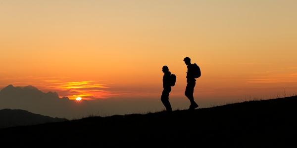 Sonnenuntergang am Panoramaweg Südalpen in de Karawanken