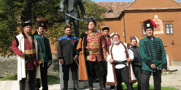 Traditionists dressed as Croatian castle guard in Jurisics Castle