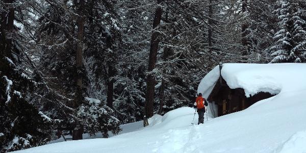 Hütte am Weg auf dem Blaswald-Trail.