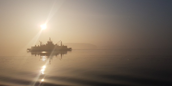 Pargas to Nagu commuter ferry a misty spring morning