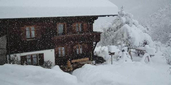 Schneesturm ums Haus