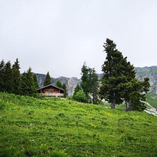 Jagdhütte, Start des Anstiegs zum Predigtstuhl