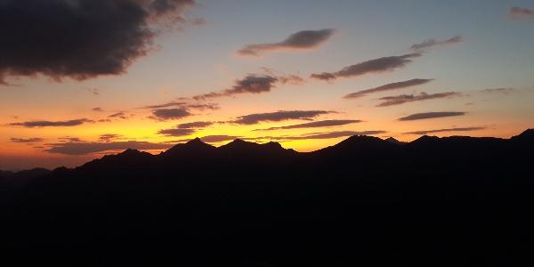 Sonnenuntergang auf der Hütte