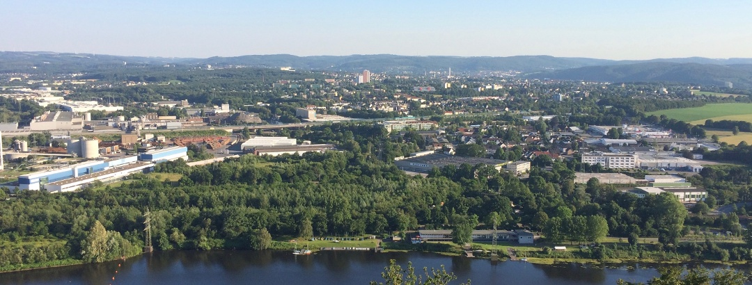 Blick vom Kaiser Wilhelm Denkmal über den Hengsteysee Richtung Hagen