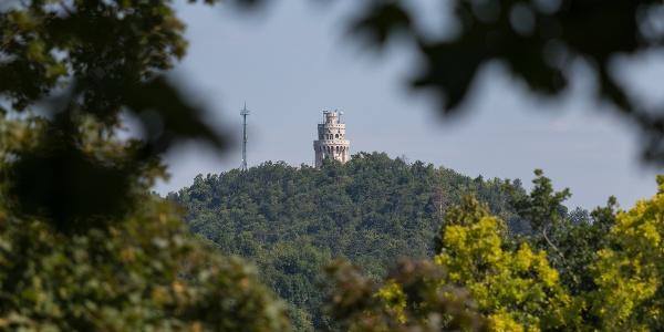 Rozhľadňa Erzsébet-kilátó na vrchu János-hegy zo strany Normafa