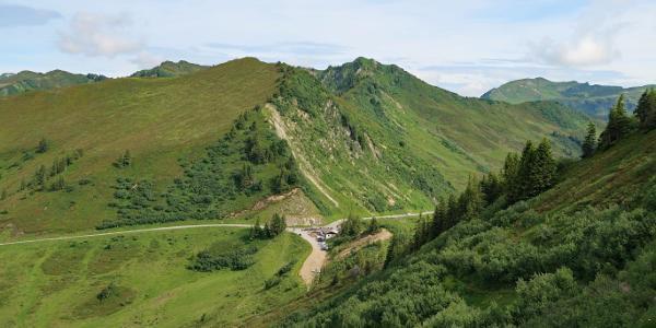Rückblick vom Serajöchle zur Passhöhe Furkajoch